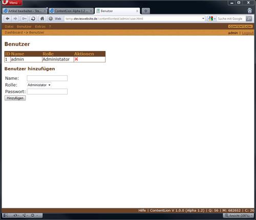 Benutzer verwalten ContentLion Alpha 1.2