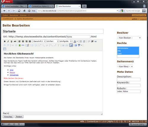 Seite Bearbeiten Contentlion Alpha 1.2