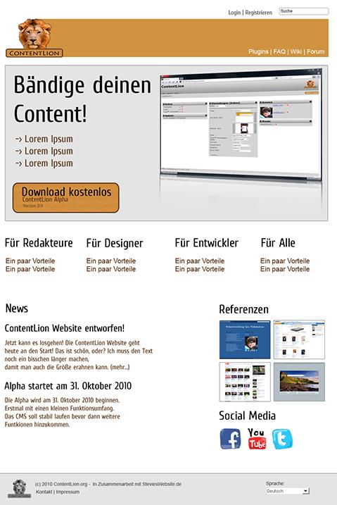 ContentLion Website Entwurf 1