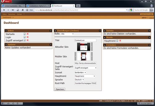 Dashboard ContentLion Alpha 1.2